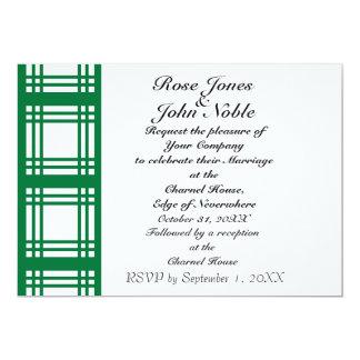 Gingham Ivory (Green) Wedding Invitation
