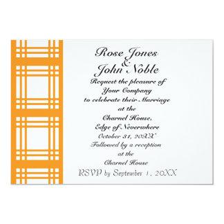 Gingham Ivory (Orange) Wedding Invitation