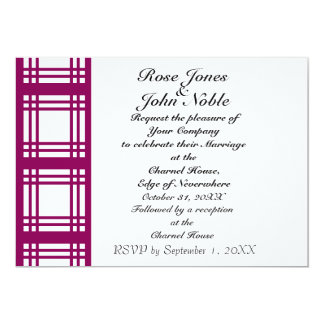Gingham Ivory (Red-Violet) Wedding Invitation