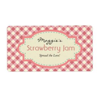 Gingham Jam Jar Labels, Customize Label