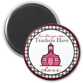 Gingham Kindergarten Teacher Magnet