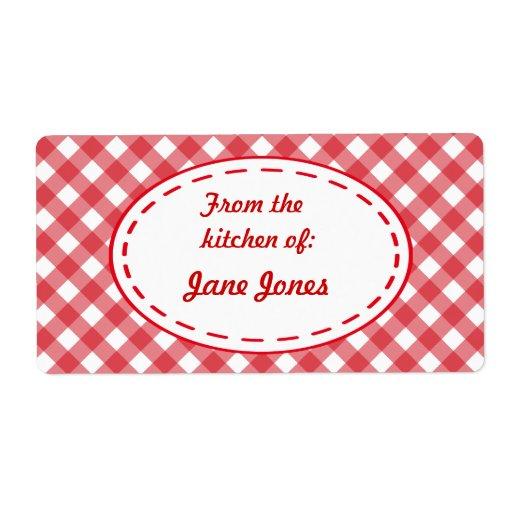 Gingham Kitchen Labels