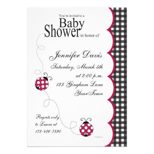 Gingham Lady Bug Baby Shower Invitation