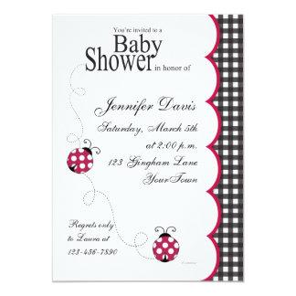 "Gingham Lady Bug Baby Shower Invitation 5"" X 7"" Invitation Card"