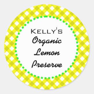 Gingham lemon preserves label classic round sticker