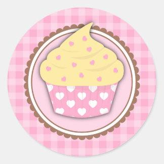Gingham Love Heart Cupcake Stickers