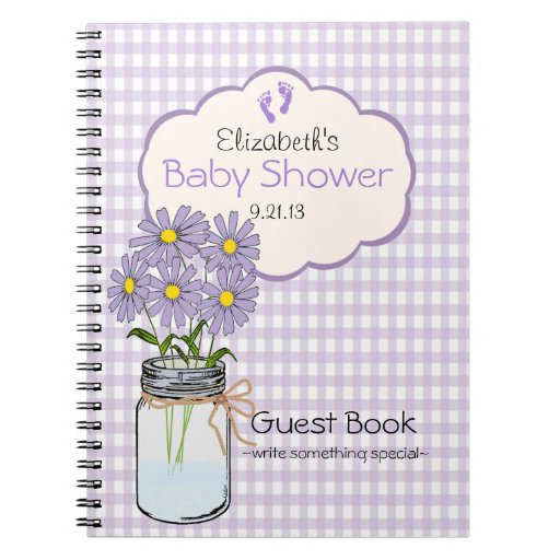 gingham mason jar baby shower guest book spiral notebooks zazzle