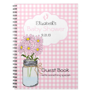 Gingham-Mason Jar- Baby Shower Guest Book- Spiral Notebook