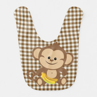 Gingham Monkey With Banana Bib