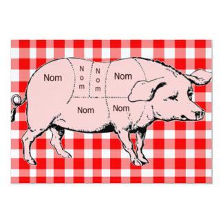 Gingham Nom Pig BBQ Invitation