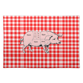 Gingham Nom Pig Placemat