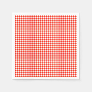 Gingham-Orange-Paper Napkins