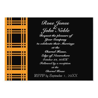 Gingham (Orange) Wedding Invitation