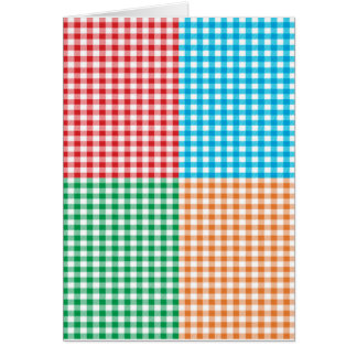 gingham,patchwork,green,red,white,orange,blue,fun card