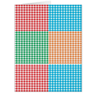 gingham,patchwork,green,red,white,orange,blue, fun card