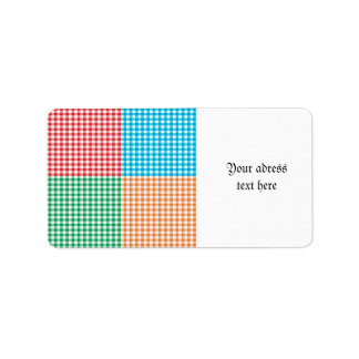 gingham,patchwork,green,red,white,orange,blue, fun label