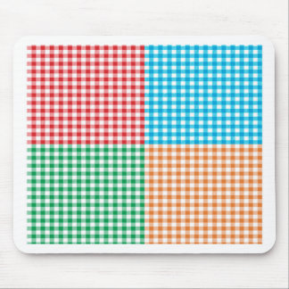 gingham,patchwork,green,red,white,orange,blue,fun mouse pad