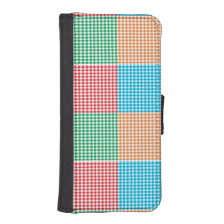 gingham,patchwork,green,red,white,orange,blue, fun wallet phone case for iPhone SE/5/5s