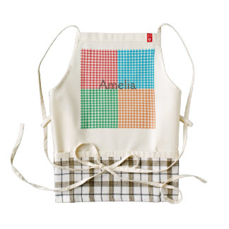 gingham,patchwork,green,red,white,orange,blue, fun zazzle HEART apron