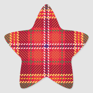 gingham,patchwork,green,red,white,orange,yellow, star sticker