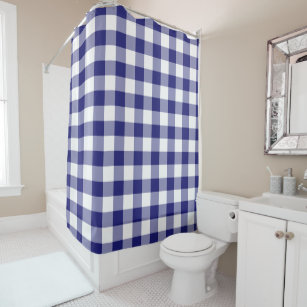 Gingham Pattern Blue And White Checked Shower Curtain