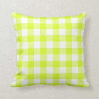 Gingham pattern white and lime green throw pillow