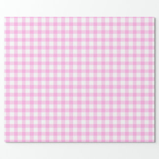 Gingham pink and white patterned wrap wrapping paper