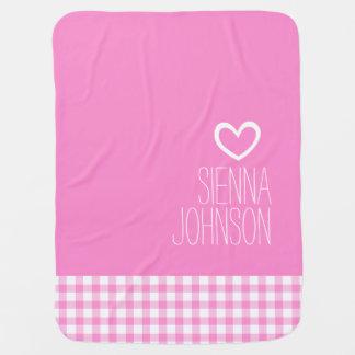 Gingham pink girls named white heart baby blanket