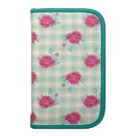 gingham plaid and hot pink chic roses pattern planner