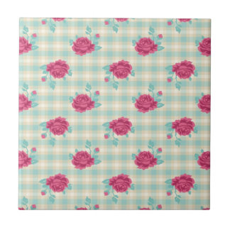 gingham plaid and hot pink chic roses pattern tile