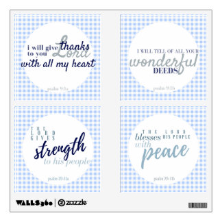 Gingham Psalms Wall Decals Coordinated Set