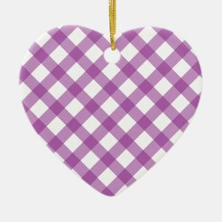 Gingham Purple Ceramic Ornament