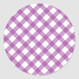 Gingham Purple Classic Round Sticker