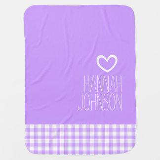 Gingham purple girls name white heart baby blanket