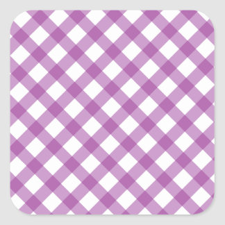 Gingham Purple Square Sticker