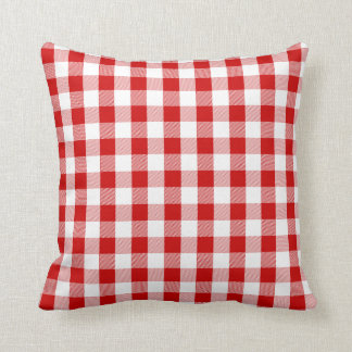 Gingham Red And White Checks Plaid Throw Pillow