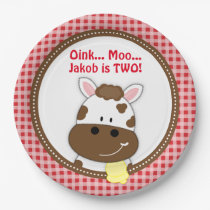 Gingham Red Barnyard Birthday Plates, Farm Cow Paper Plate