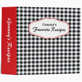Gingham red, black and white recipes binder
