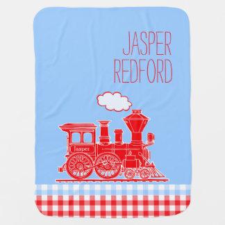 Gingham red blue boys name train baby blanket
