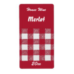Gingham red house wine label