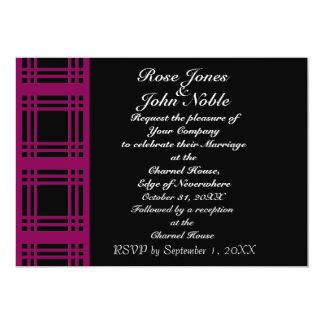 Gingham (Red-Violet) Wedding Invitation