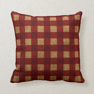 Gingham Rustic Red Throw Pillow