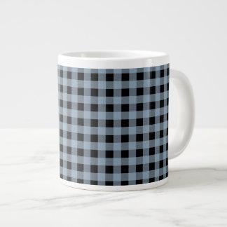 Gingham Slate and Black Large Coffee Mug