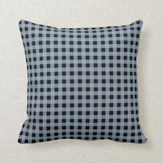 Gingham Slate and Black Throw Pillow