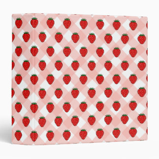 Gingham Strawberry Recipe Binder