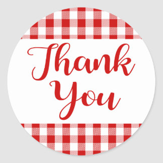 Gingham Thank You Red And White Check Plaid Classic Round Sticker