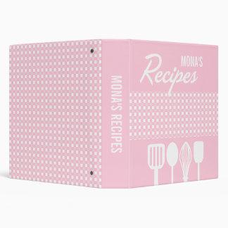 Gingham & Utensils Recipe (Pink) 3 Ring Binder