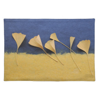 gingkgo leaves on handmade paper place mat