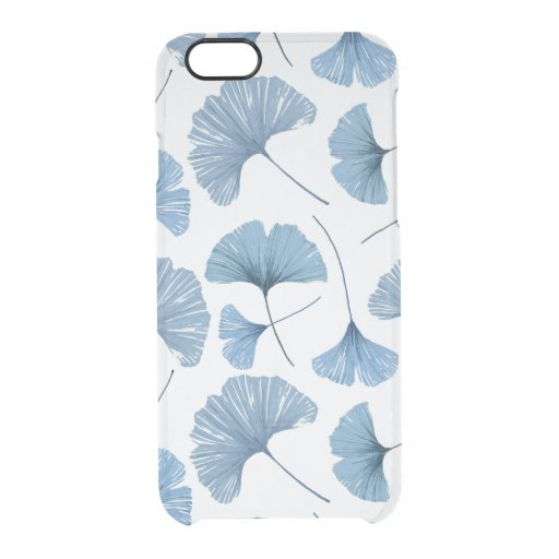 Gingko leaf blue and white pattern clear iPhone 6/6S case