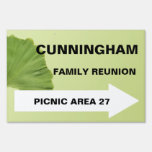 Gingko Leaf Reunion Directional Sign